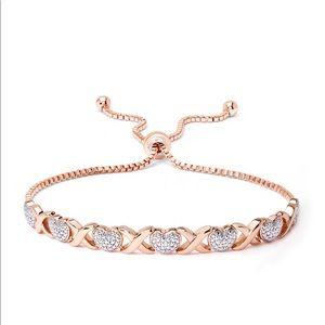 Diamond accent heart X link bracelet rose gold